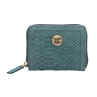100% Genuine Leather RFID Croc-Embossed Teal Wallet with Zipper Closure