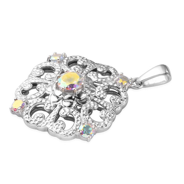 Mercury Mystic Topaz Pendant in Platinum Overlay Sterling Silver 2.75 Ct.