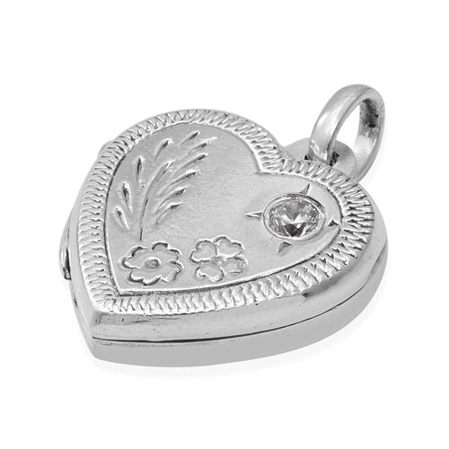 Sterling Silver Floral Engraved Heart Locket Pendant