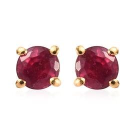 AA African Ruby Stud Earrings (with Push Back) in 14K Gold Overlay Sterling Silver 0.30 Ct.