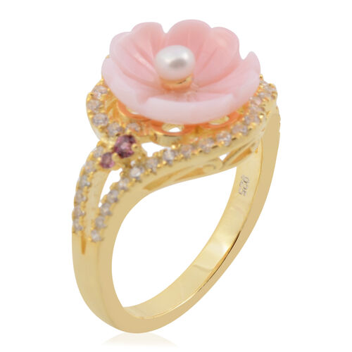 Jardin Collection - Pink Mother of Pearl, Freshwater Pearl, Rhodolite Garnet and Natural White Cambodian Zircon Ring in Yellow Gold Overlay Sterling Silver