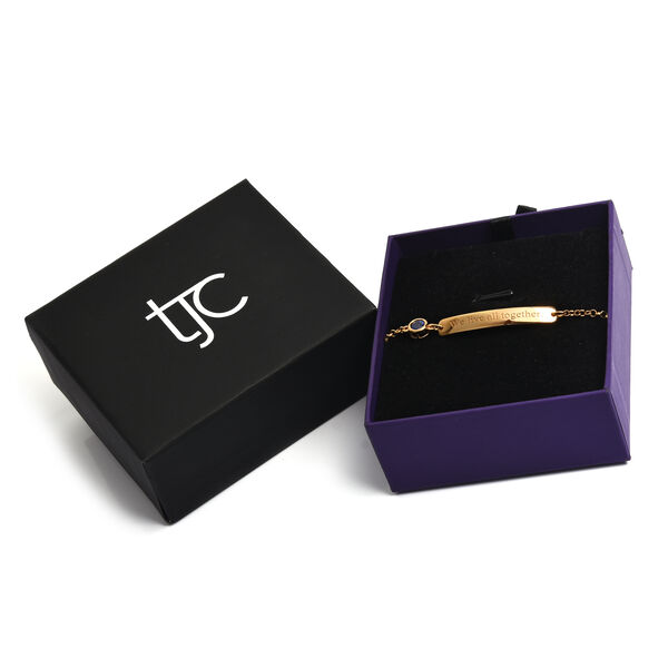 Personalised Engraved Bar and Birthstone Bracelet