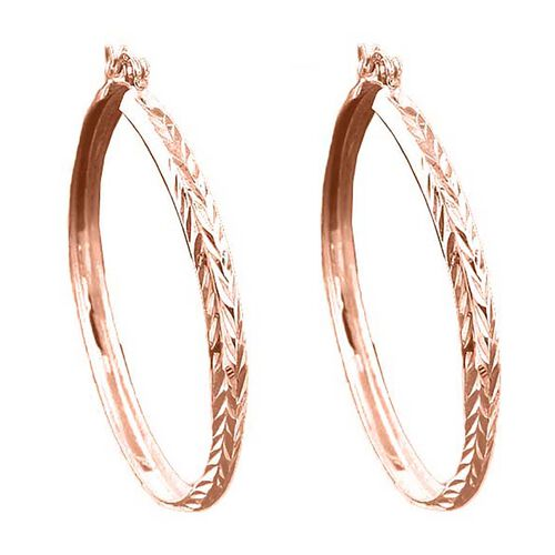 Rose Gold Overlay Sterling Silver Hoop Earrings (with Clasp Lock), Silver wt 3.60 Gms
