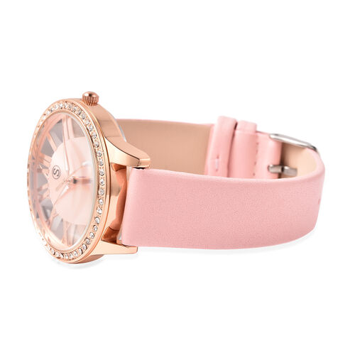 STRADA Japanese Movement White Austrian Crystal Studded Water Resistant Watch with Pink Strap in Dual Tone