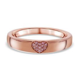 9K Rose Gold Natural Pink Diamond Heart Band Ring
