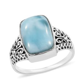 7.42 Ct Larimar Solitaire Ring in Sterling Silver 4.60 Grams