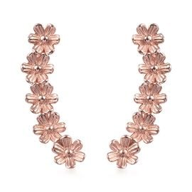 14K Rose Gold Overlay Sterling Silver Floral Earrings (with Push Back)