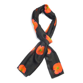 TJC POPPY COLLECTION 100% Mulberry Silk Orange and Green Poppy Flower Pattern Black Colour Scarf (Size 180X50 Cm)