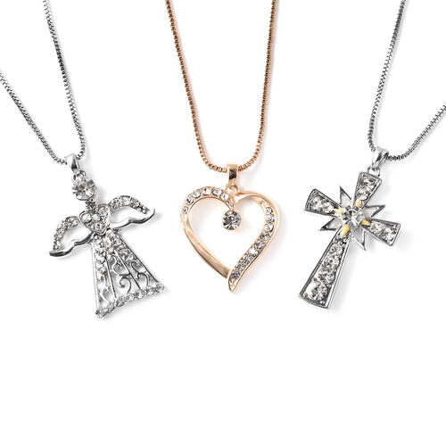 3 Piece Set - White Austrian Crystal Angel, Heart and Cross Enamelled  Pendant with Chain (Size 20 w