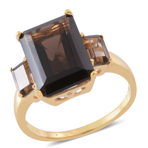 Brazilian Smoky Quartz (Oct 8.00 Ct) Ring in 14K Gold Overlay Sterling Silver 9.000 Ct.