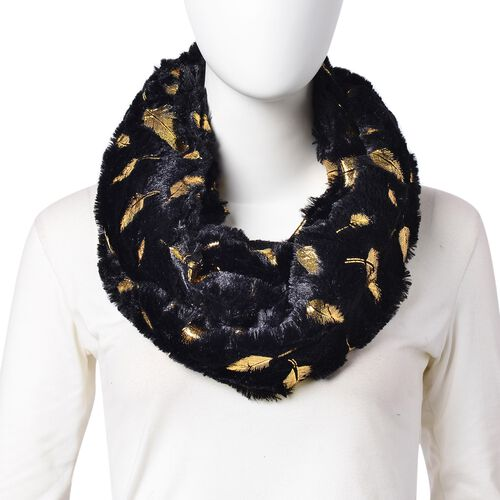 Black and Golden Colour Angel Feather Pattern Faux Fur Infinity Scarf (Size 80x20 Cm)