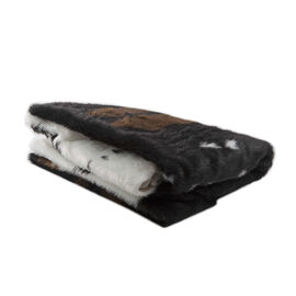 Large Faux Cowhide Fur Rug (Size 170x200 Cm) - Brown and White