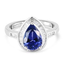 The Rigel Legacy RHAPSODY 950 Platinum AAAA Tanzanite (Pear 2.00 Cts) and Diamond (VS/E-F) Ring 2.54