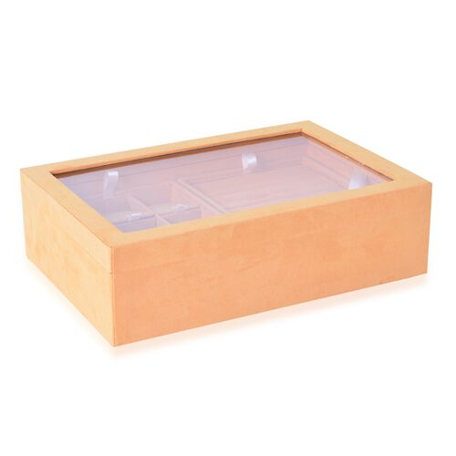 Mustard Colour Two Layer Jewellery Box with Transparent Top (Size 35.5X24.3X10 Cm)