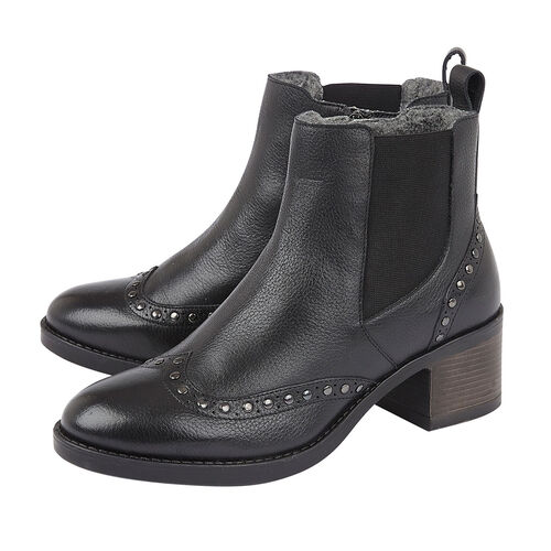 Lotus Black Leather Lucinda Ankle Boots (Size 6)