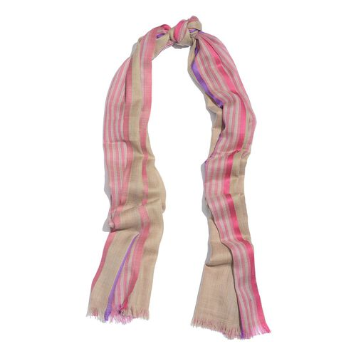 92% Merino Wool and 8% Silk Beige, Pink and Purple Colour Stripes Pattern Scarf with Fringes (Size 180X70 Cm)