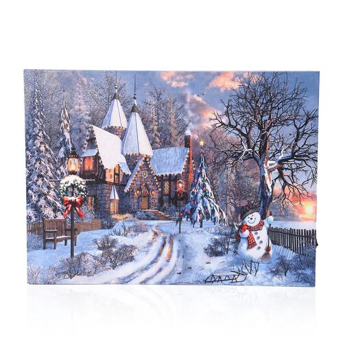 Home Decor - Fiber Optic Light Framed Canvas Christmas Painting with LED Wall Decor (Size 40x30 Cm)