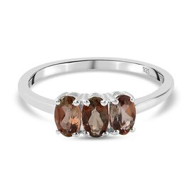 Andalusite Three Stone Ring in Sterling Silver