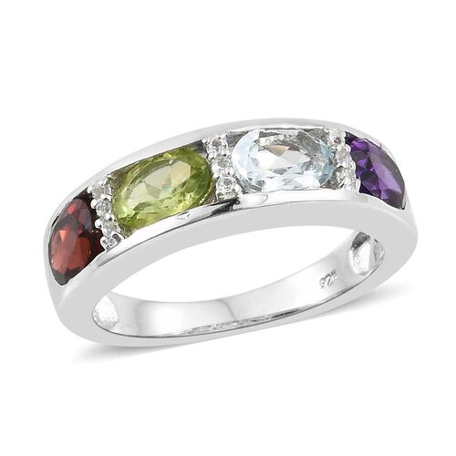 Sky Blue Topaz, Mozambique Garnet and Multi Gemstone Ring in Platinum Overlay Sterling Silver 3.500 Ct. Silver wt 5.05 Gms.