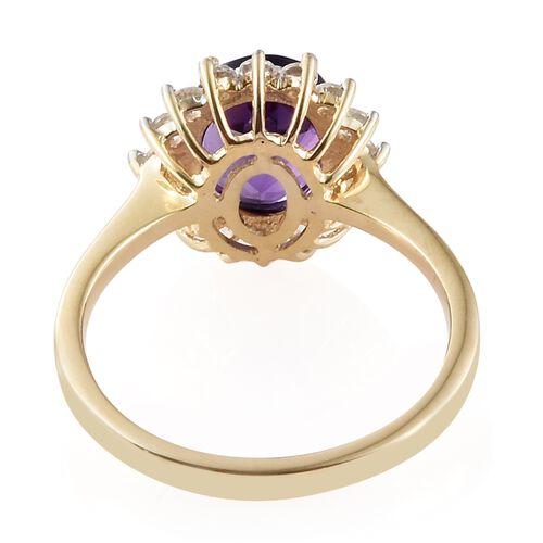 Lusaka Amethyst (1.60 Ct),Cambodian Zircon 9K Y Gold Ring  2.000  Ct.