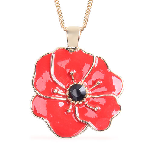 TJC Poppy Design - Set of 2  Black and Red Austrian Crystal Enamelled Poppy Earrings (with Push Back) and Pendant With Chain (Size 26 with Extension) in Yellow Gold Tone