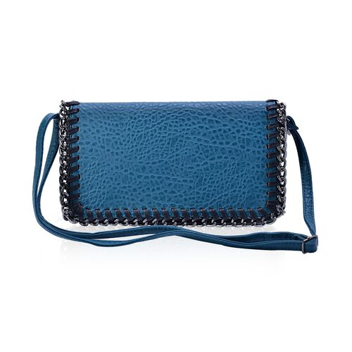 Croc Embossed Blue Colour Crossbody Bag with Adjustable Shoulder Strap (Size 29x16x4 Cm)