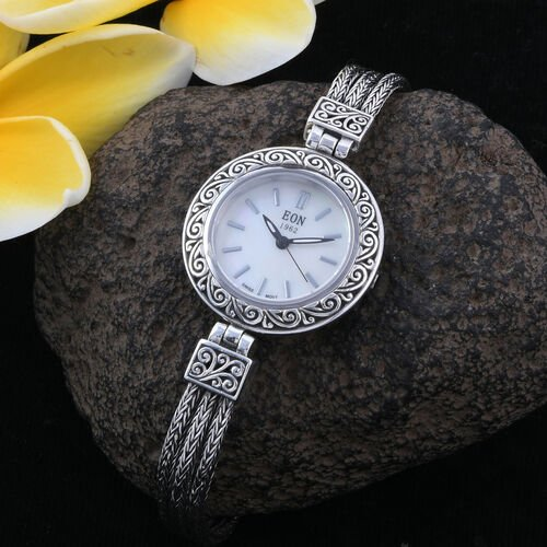 Royal Bali Collection- EON 1962 Swiss Movement 3ATM Water Resistant Watch (Size 6.5)  with MOP Dial  in Rhodium Plated Sterling Silver, Silver wt 19.00 Gms