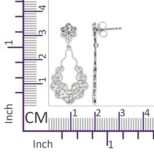 Designer Inspired-Diamond (Bgt) Earrings (with Push Back) in Platinum Overlay Sterling Silver 0.500 Ct.