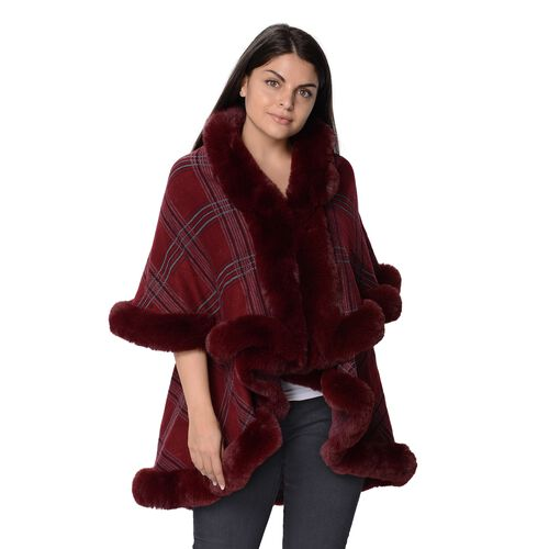 Checkered Pattern Faux FurTwo Layer Wrap (Size 79x99 Cm, 46x81 Cm) - Chk Wine