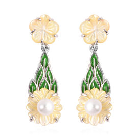 Jardin Collection - Yellow Mother of Pearl and Freshwater Pearl Enamelled Floral Drop Earrings (with