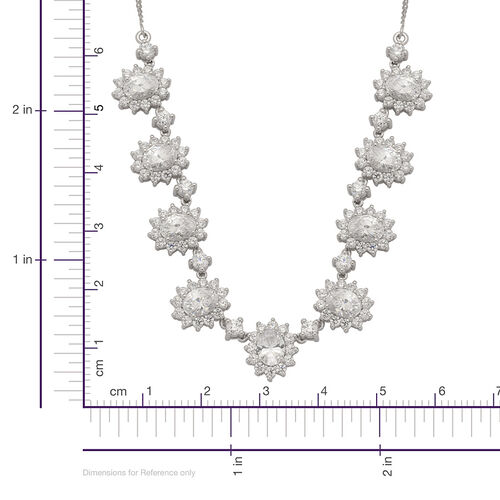 J Francis - Platinum Overlay Sterling Silver (Ovl) Necklace (Size 18) Made with SWAROVSKI ZIRCONIA