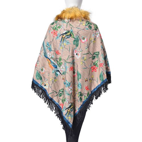 Designer Inspired Grey, Yellow and Multi Colour Floral and Birds Pattern Faux Fur Collar Reversible Poncho with Tassels (Free Size)