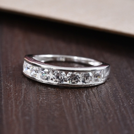 MP - J Francis Sterling Silver (Rnd) Half Eternity Band Ring Made with SWAROVSKI ZIRCONIA 1.61 Ct.