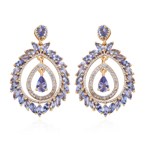 Tanzanite (Pear), Natural Cambodian Zircon Earrings (With Push Back) in 14K Gold Overlay Sterling Si
