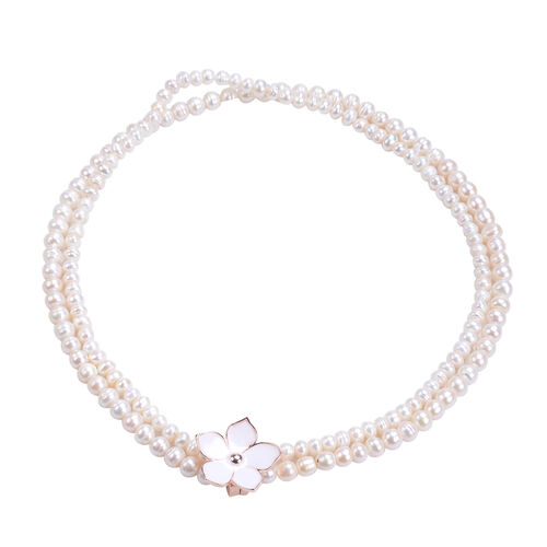 Freshwater White Pearl Enamelled Necklace (Size 18) with Flower Magnetic Clip