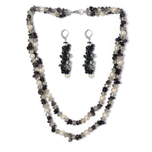 Jewels of India Smoky Quartz, Glass and Glass Pearl Lever Back Earrings and Necklace (Size 20) in Silver Tone 372.650 Ct.