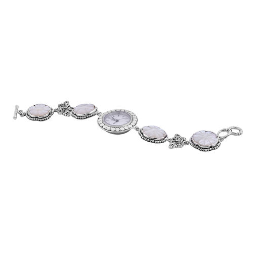 Royal Bali Collection - EON 1962 Swiss Movement Water Resistant Carved Mother of Pearl and Butterfly Bracelet Watch (Size 7.5) in Sterling Silver, Silver wt 32.52 Gms