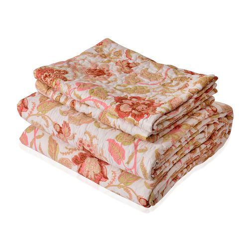 King Size Red, Pink and Multi Colour Floral Reversible  Quilt (Size 260X240 Cm) and 2 Pillow Shams (Size 70X50 Cm)