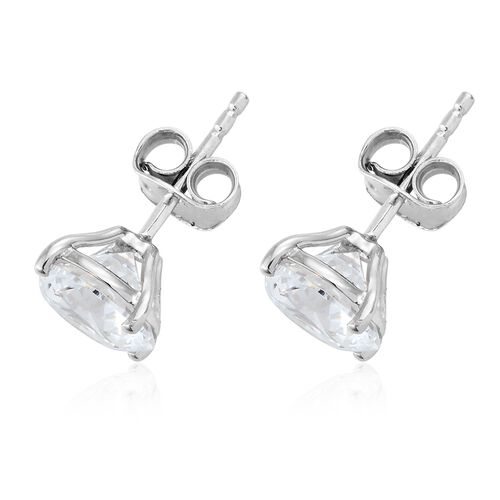 J Francis - Stud Earrings (with Push Back) in 9K White Gold Made with SWAROVSKI ZIRCONIA