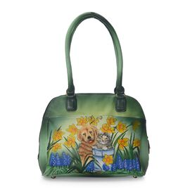 SUKRITI 100% Genuine Leather Hand Painted Puppy and Cat Handbag (Size 31.5x26x10 Cm) with External Z
