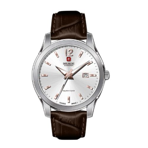 Swiss Military Hanowa Mountain Guide with White Dial and Brown Leather Strap