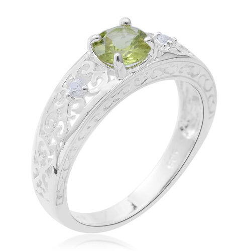 Hebei Peridot (Rnd), Natural Cambodian White Zircon Ring in Rhodium Overlay Sterling Silver 0.880 Ct, Silver wt 3.80 Gms.