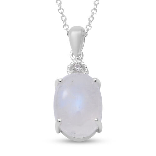 Rainbow Moonstone and Natural Cambodian Zircon Pendant with Chain (Size 18) in Sterling Silver 7.04