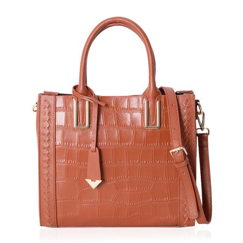 100% Genuine Leather Italian Tan Croc Embossed Stone PatternTote Bag with Removable Shoulder Strap (Size 28x24.5x12 Cm)