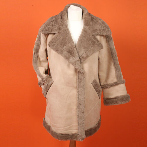 Urban Mist Faux Fur Suede Shearling Soft Fleece Lined Collar Coat with Pockets (Size L; 12-14) (Leng
