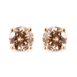 Champagne Moissanite Stud Earrings (with Push Back) in Yellow Gold Overlay Sterling Silver