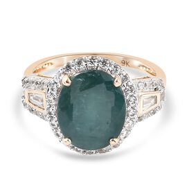 9K Yellow Gold AA Grandidierite and Natural Cambodian Zircon Ring 4.21 Ct.