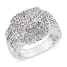 1 Carat Diamond Cluster Ring in Platinum Plated Sterling Silver 6.37 Grams