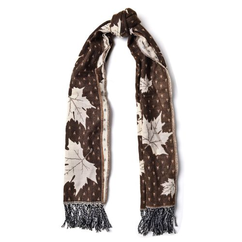 Chocolate with White Colour Maple Leaf Pattern Scarf with Long Tassels (Size 170x65 Cm)