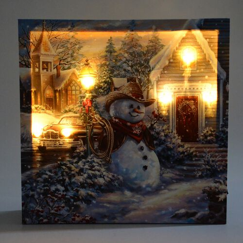 Fiber Optic Light Framed Canvas Christmas Snowman in a Winter Village Theme Painting Wall Decor (Size 40x40 Cm)